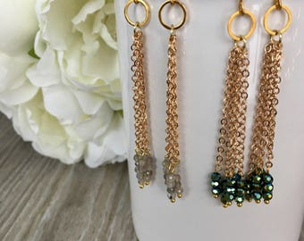 Dangle earrings - crystal and chain - night out jewelry