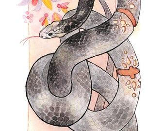 Original Watercolor - Glowing Corn Snake
