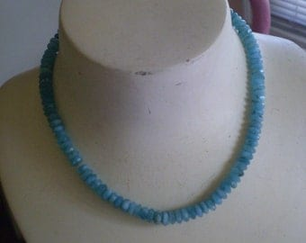Peruvian Opal Necklace  with Faceted Wheel Beads