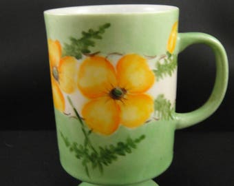Green Floral Mug Hand Painted Signed Clara Green 1976