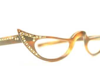 Tortoise Rhinestone Cat eye reading glasses vintage glasses frames cat eye readers