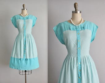 50's Dress // Vintage 1950's Turquoise Gingham Blue White Full Garden Party Casual House Dress L