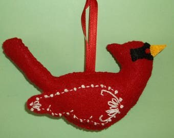2 Hand Crafted Felt  Christmas Snow Cardinals Birds  Ornaments -White, Blue  Embroidery