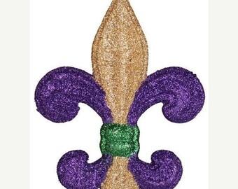 """15% OFF 4"""" Purple Gold Green Fleur de Lis MZ166352,  Wreath Decor, Fleur de Lis"""
