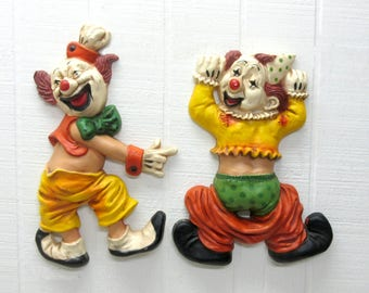 Vintage Homco Clowns Wall Hanging Set Of 2