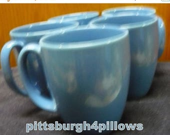 CHRISTMAS IN JULY 5 - Corelle - Medium Blue Coffee Cups / Mugs - Some Wear  - Price Is For All - 4 x 3 - 12 Ozs