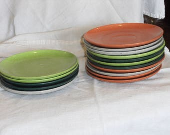 Vintage Color-Flyte Melmac Dessert Plates and Saucers