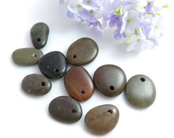 Top Drilled Dark Beach Stones 10 beads for Jewelry Design, Drilled Beach Pebbles, Unique Jewelry Supplies, Jewelry Making Set