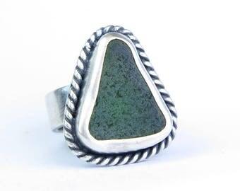 Sea glass ring, silver ring, silver sea glass band, Green Sea Glass Ring, Sterling Silver Seaglass Ring
