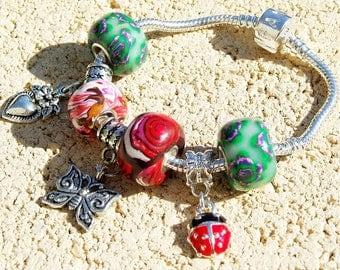 Bracelet pandora Ladybug garden style polymer clay