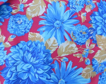 """Bold Floral Print Fabric One Yard Red with Blue Flowers Dahlias on Red Bold Cotton Blend Medium Weight Fabric One Yard 44"""" Wide Floral Print"""