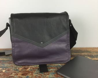 NEW - Leather Commuter Bag New Satchel  -  Plum and Black Book Bag