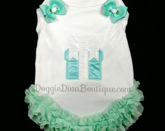 Aqua Gift Package embroidery applique Dog T Shirt - XS, Small, Medium with or without bows or ruffles