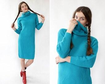 Vintage Sweater Dress XS/S/M • Teal Sweater Dress • Turtleneck Sweater Dress • 80s Sweater Dress • Winter Sweater Dress | D1188