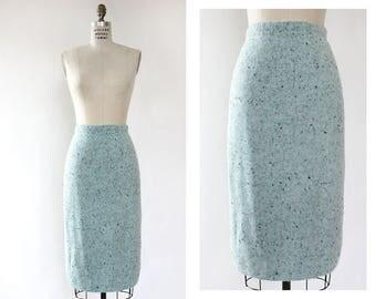 Light Blue Skirt M/L • High Waisted Skirt • Winter Skirt • Sweater Skirt • 90s Skirt • Vintage Pencil Skirt • Stretchy Skirt | SK1074