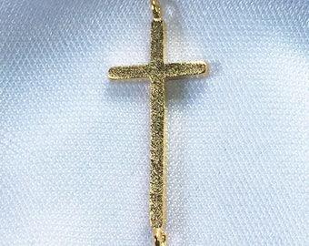 MATTE Textured Gold CROSS Connector * 9.5x23mm * Gold Plate