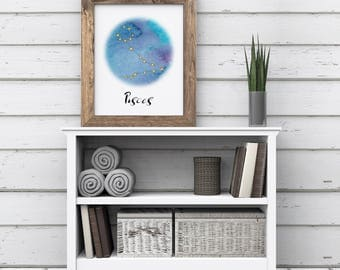 Pisces Print, Constellation Print, Zodiac Print, Astrology Printable, Pisces Astrological Sign, Pisces Watercolor Wall Art