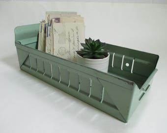 Vintage Metal Drawer - Industrial Salvage - Studio Decor - Industrial Chic - Original Green Paint