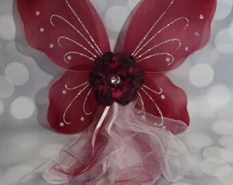 Girl's Burgundy Fairy Wings, Girls Fairy Wings, Butterfly Wings,Children's Pixie Wings, Burgundy Wings, Play Wings,  Pale Pink, FW1719