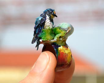 The First SWALLOW - COCKTAIL STATEMENT Adjustable One Of A Kind Art Bird Ring