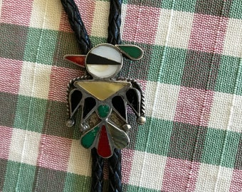 Beautiful Native American Silver and Turquoise Vintage Inlaid Bolo Tie Western Wear Black Leather Zuni