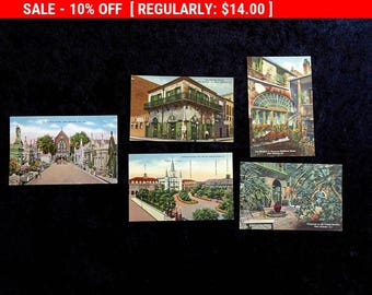 New Orleans Lot of 6 ORIG.  Vintage Postcards   French Quarter Unused Cemetery Lace Grillwork