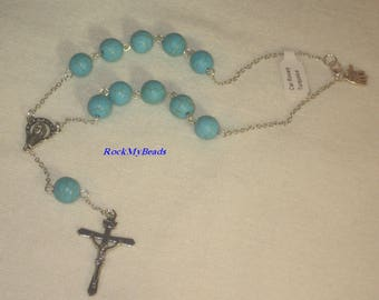 Turquoise Car Rosary,10 Decate Car Rosary,Auto Rosary,Rosary,Pocket Rosary,Catholic Rosary,Catholic,Prayer Beads,Travel Rosary,Cross