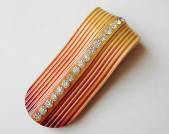 Vintage 40s Art Deco Ombre Celluloid Rhinestone Dress Scarf Clip