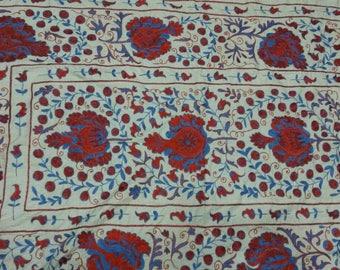 Uzbek hand embroidered suzani Pomegranates. Wall hanging, bed cover suzani