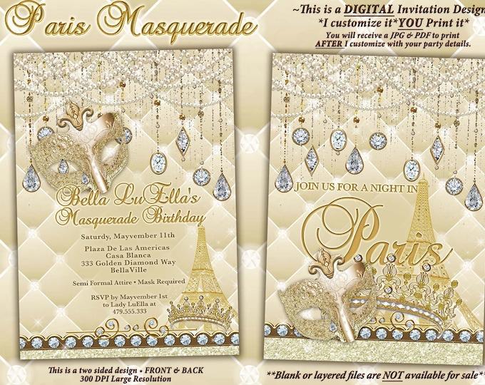 Paris Bling Masquerade Party Invitations