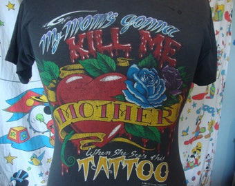 Vintage My Mom's Gonna Kill Me When She See's This TATTOO Official Brand 1992 Laconca Bike Week Motorcycle T Shirt M