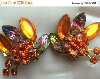 ANNIVERSARY SALE Orange Rhinestone Earrings with Art Glass