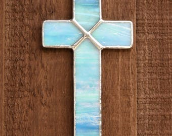 Stained Glass (Cross) in Aqua iridescent glass