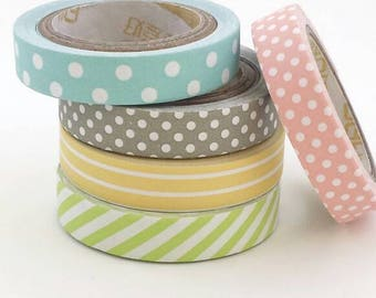 Pastel tape set of 5 slim skinny spring paper tapes for planners scrapbooking journals crafts mail stationery - Lillibon