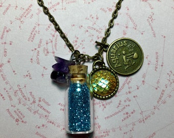 Aquarius Zodiac Charm Necklace
