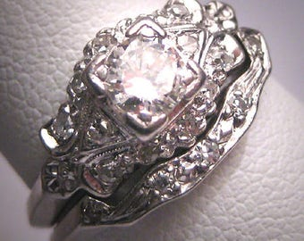 rare antique platinum diamond wedding ring set wband art deco 70ctw engagement 1930s - Antique Wedding Ring Sets