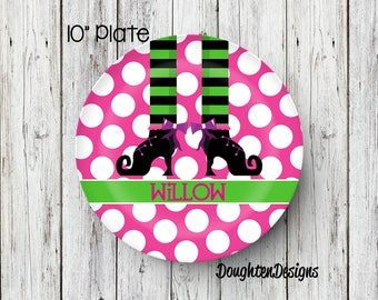 Personalized Melamine Plate, Halloween plate, Girl Witch plate, Personalized Halloween plate, Personalized, Kids Plate, Melamine Plate