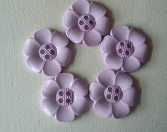 Lot of 5 Extra Large Flower Buttons - Lilac