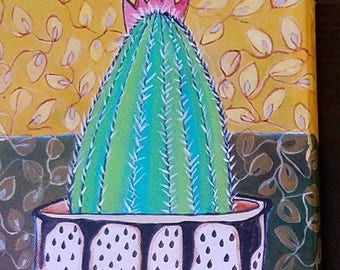 "RESERVED II - Garden Inspiration- Original acrylic painting  8""x8""-"
