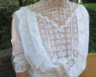 Edwardian White Cotton Batiste Tea Gown