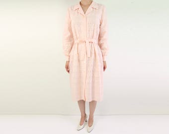 VINTAGE Eyelet Dress Shirt Dress 1970s Peach