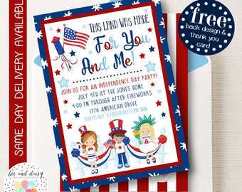 4th of July Invitation, July 4th Party Invitation, Independence day Birthday Party, All American Birthday, First Birthday Party, BeeAndDaisy