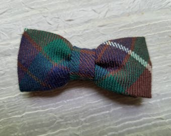 Vintage Plaid Toddler Little Boys Clip on Bow Tie Bowtie 1960s Made in England Wool