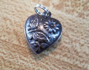 Vintage Antique Sterling Silver Puffed Heart Pendant Charm with Flower and Butterfly Victorian