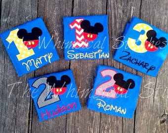 Personalized Mickey Mouse Birthday Shirt inspired, 1st, 2nd, 3rd- Applique, Customized, Embroidered, Name,Yellow Polka Dot