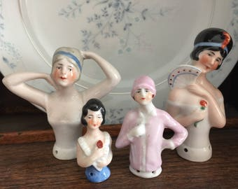 Collection of Vintage Porcelain Flapper Pin Cushion Half Dolls Germany