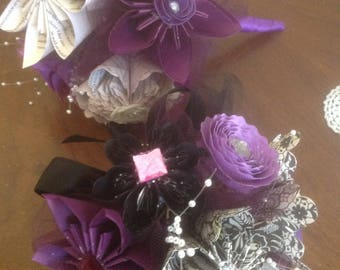 Black and Deep Purple Origami Paper Flower Bouquets 2 Included
