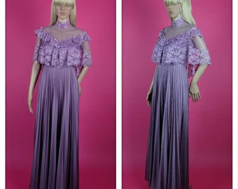 Beautiful Vintage Purple Floral Lace and Pleats Maxi Dress
