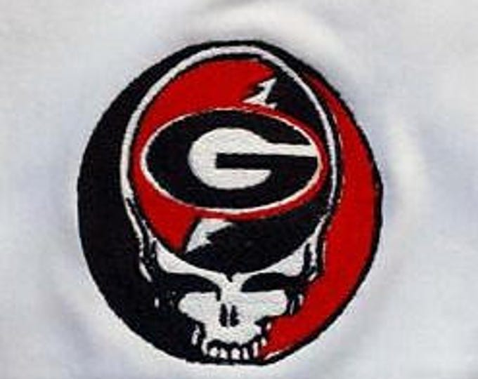 University of Georgia Bulldogs Grateful Dead Steal Your Face Full Stitch Patch Iron On Jam Band Patch Hippie Patch Steal Your Face Patch
