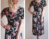 1940s Dress // Rose Finch Rayon Dress // vintage 40s dress